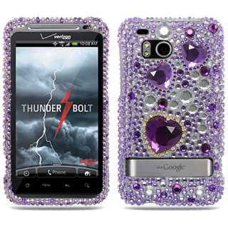 Purple Heart Bling Case Cover HTC THUNDER BOLT 4G +LCD