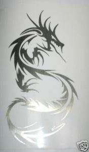 Tribal Dragon Decal   BRUSHED CHROME   Nice