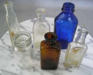 Vintage* MIXED LOT  SMALL GLASS BOTTLES   BLUE GLASS, LITTLE BOY BLUE