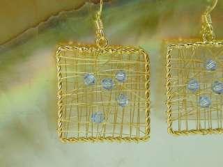 MADE 22K 24K Gold Vermeil Thai Wire Wrap Blue Crystal Earrings