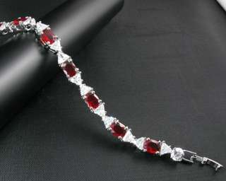 Fashion Jewelry Lady Gift Red Ruby Gems Clear Topaz Stone White Gold