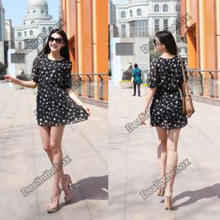 New 2012 Women Chiffon Cute Star Pattern Mini Dress Casual Half Sleeve