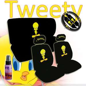 11 Pieces Tweety Bird Car Seat Covers Wheel Cover Set with Gift