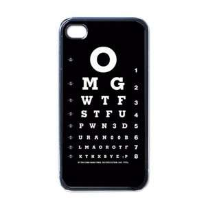 New Funny Eye Test Chart Apple iPhone 4 4S Hard Case Cover Black