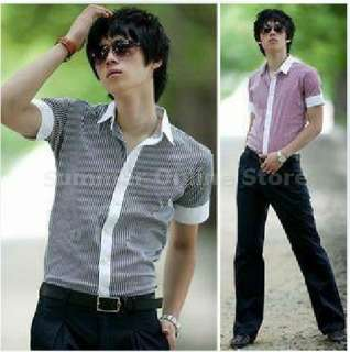 Slim Fit Casual Basic Stripe Shirts Korean Style Black Red sized S M L