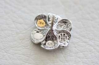 John Hardy Sterling Silver Diamond Frangipani Flower Earrings