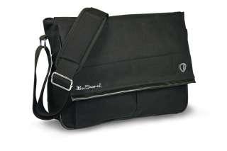 Ben Sherman Black Canvas Mens Travel Messenger Bag w/Black Trim Flap