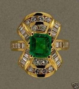 ESTATE 18K YELLOW GOLD FINE UNTREATED EMERALD & BAGUETTE ROUND DIAMOND