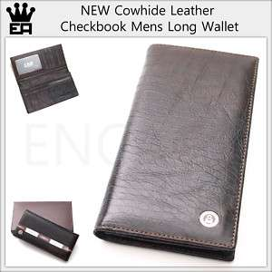 NEW BROWN Cowhide Leather Checkbook Long Mens Wallet