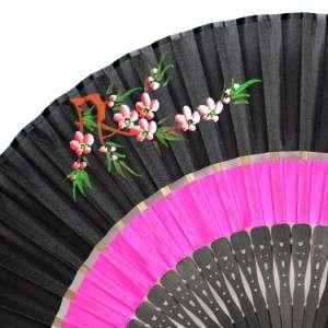 SILK HAND FAN Folding Pocket Purse Hand Painted Blossoms Black Pink