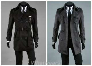 Mens Double Breasted Trench Coat Jacket Overcot C18