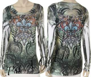 SARA MODE CRYSTAL FLEUR DE LIS SUBLIMATION GREEN SHIRT PLUS BIKER