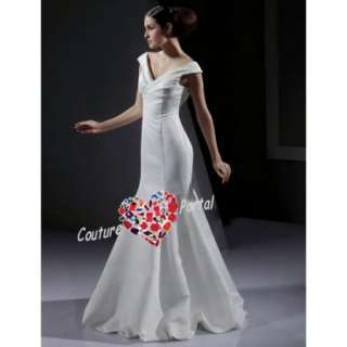 Mermaid Off shoulder Floor length Satin Wedding Dress