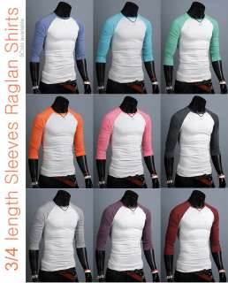 New unisex womens 3/4 sleeve mens raglan Casual shirts for men raglan