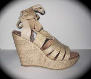 STEVE MADDEN RAPUP Natural Wedge Sandals Shoes