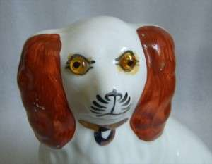 SMALL STAFFORDSHIRE STYLE SPANIEL DOG GLASS EYES CUTE