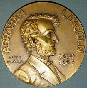 ABRAHAM LINCOLN / PRESIDENT U.S.A. / BRONZE MEDAL 219g   80MM / 3.1