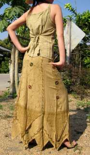 Indian Rayon Set Shirt & Skirt   Camel Brown size M