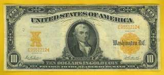 1907 $10 GOLD CERTIFICATE   BEAUTIFUL SCARCER SERIES