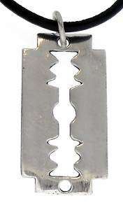 RAZOR BLADE Silver Pewter Pendant Leather Necklace CORD