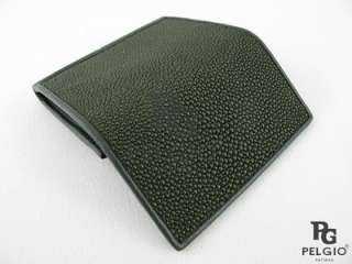 PELGIO New Genuine Stingray Skin Leather Coin Purse Wallet Green Free