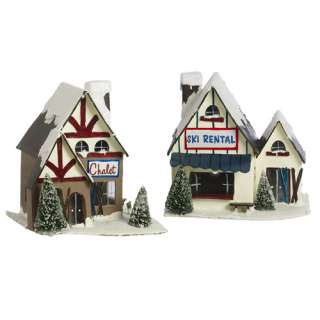 Winter SKI CHALET LIGHT COVERS Set of 2 mini Villages