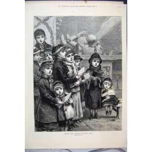 1880 Kinder, die Weihnachtslieder Viktorianische Kunst Singen: