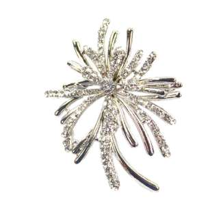 NEW Flower Shaped Crystal Rhinestone Brooch pin Silver
