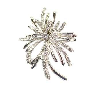 NEW Flower Shaped Crystal Rhinestone Brooch pin Silver