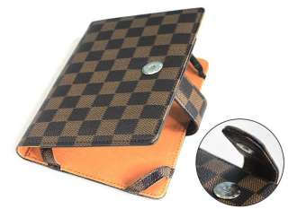 Brown Plaid Leather case cover for  kindle 4 4th+SPx2