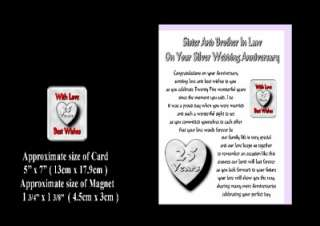 25TH WEDDING ANNIVERSARY SISTER & BROTHER IN LAW CARD & MAGNET GIFT