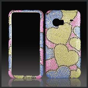 Green Blue Hearts on Pink Cristalina crystal bling case