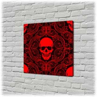Tableau Canvas Déco Rouge Noir Tete de Mort 30x30cm