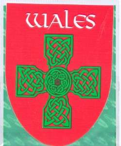 Wales Welsh RED Green CELTIC CROSS Decal Car Sticker