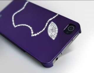 Purple Apple Swarovski Diamond Crystal Luxury Hard Case Cover