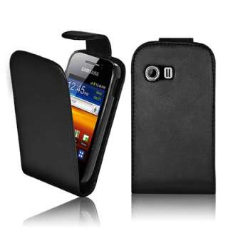 BLACK LEATHER FLIP CASE COVER POUCH FOR SAMSUNG GALAXY Y S5360