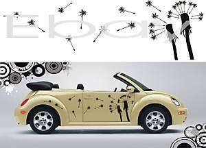 VW Beetle Art Flowers Seed Car Vinyl Decal Stickers Kit