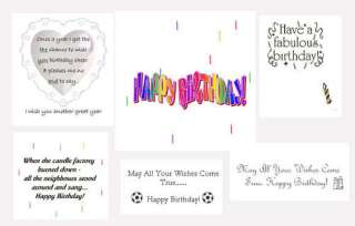 Pack of 18 BIRTHDAY Card Inserts  to fit A6 cards