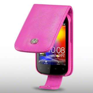 PU LEATHER FLIP CASE FOR HTC EXPLORER   HOT PINK