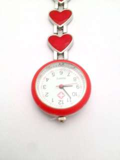 Brand New Stainless Steel Heart Shaped Nurse Tunic Quartz Fob Watch