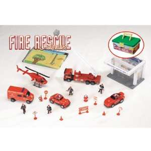 Fire Rescue Adventure Playset in carrying Case Toys