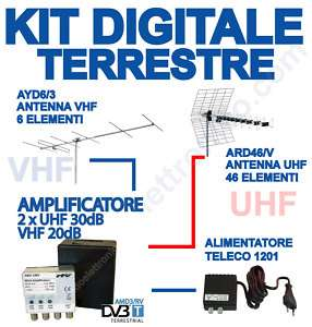 KIT ANTENNE DIGITALE TERRESTRE VHF UHF + AMPLIFICATORE
