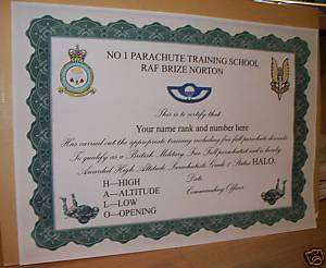 Special Air Service HALO parachuting Certificate.