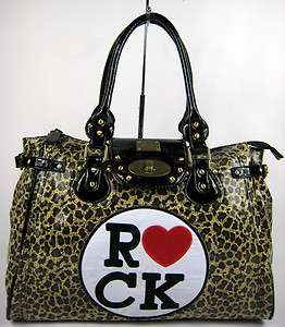 BOUTIQUE I HEART LOVE ROCK LEOPARD ANIMAL PRINT BLACK TRIM WEEKEND BAG