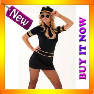 60s 70s Retro Air Hostess Flight Attendant Fancy Costume + Pilot Hat