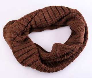 Lady Women Knit Circle Neck Cowl Wrap Winter Warmer Scarf Warm Loop