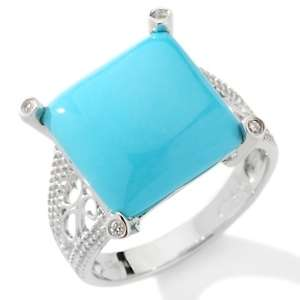 Heritage Gems Sleeping Beauty Turquoise and Diamond Sterling Silver