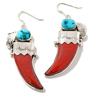 Southwest Gemstone Sterling Silver Bear Claw Earrings
