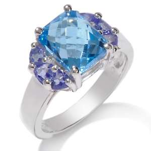 Blue Topaz and Tanzanite Sterling Silver Cushion Cut Ring