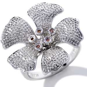 Ruby Ying Diamond Accented Sterling Silver Cherry Blossom Ring at
